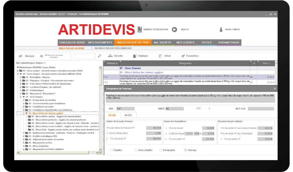 logiciel devis factures avec base de prix