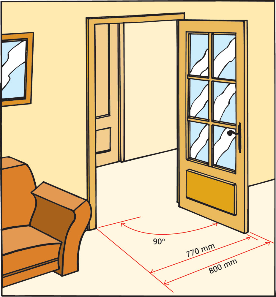 Rendre accessibles les entr es d 39 un logement g n rale for Dimension porte d entree standard