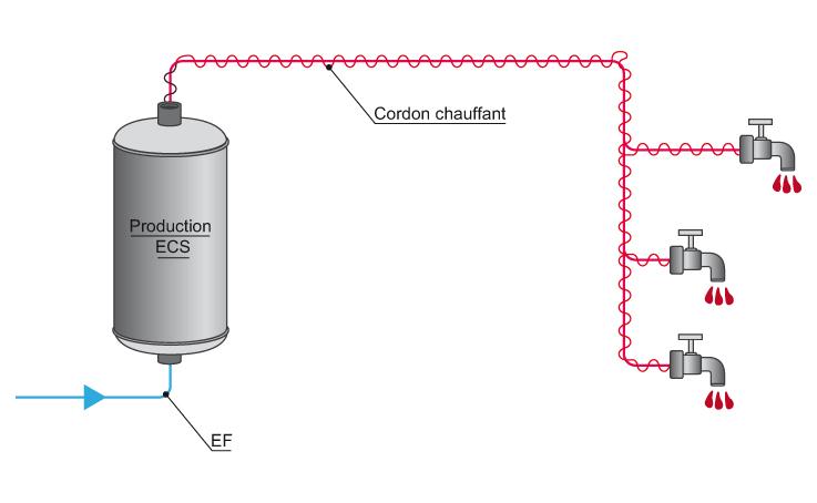 R seaux d 39 eau chaude bouclage ou cordon chauffant for Temperature ideale eau chaude sanitaire